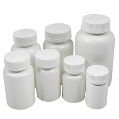 White HDPE Plastic Packer Bottles with Child Resistant Caps